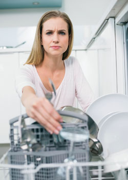 Woman & dishwasher